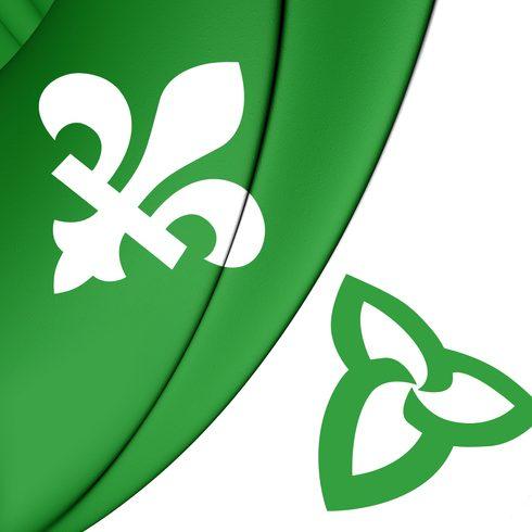 Drapeau franco-ontarien vert et blanc